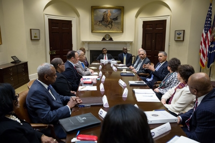 President Barack Obama meets with African American civil rights leaders to discuss criminal justice reform, income inequality and the Affordable Care Act, in the Roosevelt Room of the White House, Feb. 18, 2014. (Official White House Photo by Pete Souza)