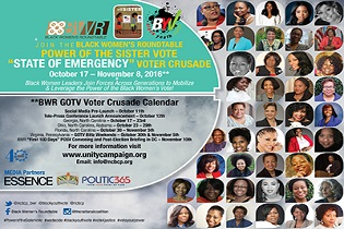 Join the Black Women's Roundtable Power of the Sister Vote State of Emergency Voter Crusade- First Stop Atlanta, Georgia October 17-October 23!!