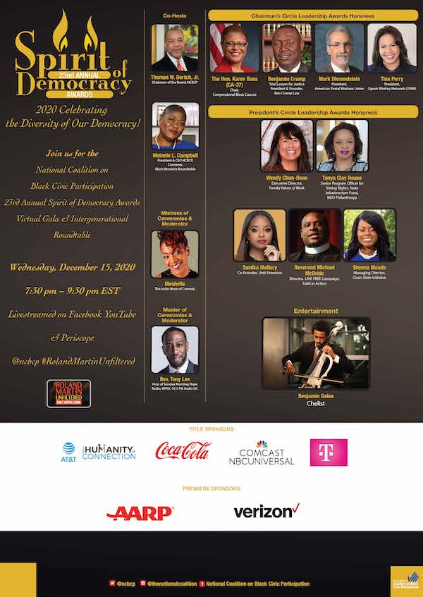 NATIONAL COALITION ON BLACK CIVIC PARTICIPATION PRESENTS  23RD ANNUAL SPIRIT OF DEMOCRACY AWARDS VIRTUAL GALA & INTERGENERATIONAL ROUNDTABLE