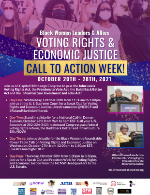 Join us on October 20th for the Black Women Leaders & Allies Voting Rights & Economic Justice Speak Out! The event will live stream on the NCBCP Facebook page and #RolandMartinUnfiltered.